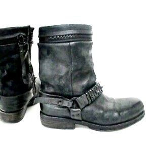 A.S.98 Boots Black Leather Metal Spikes Biker 9